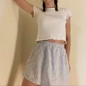 Blue and white pin striped skirt